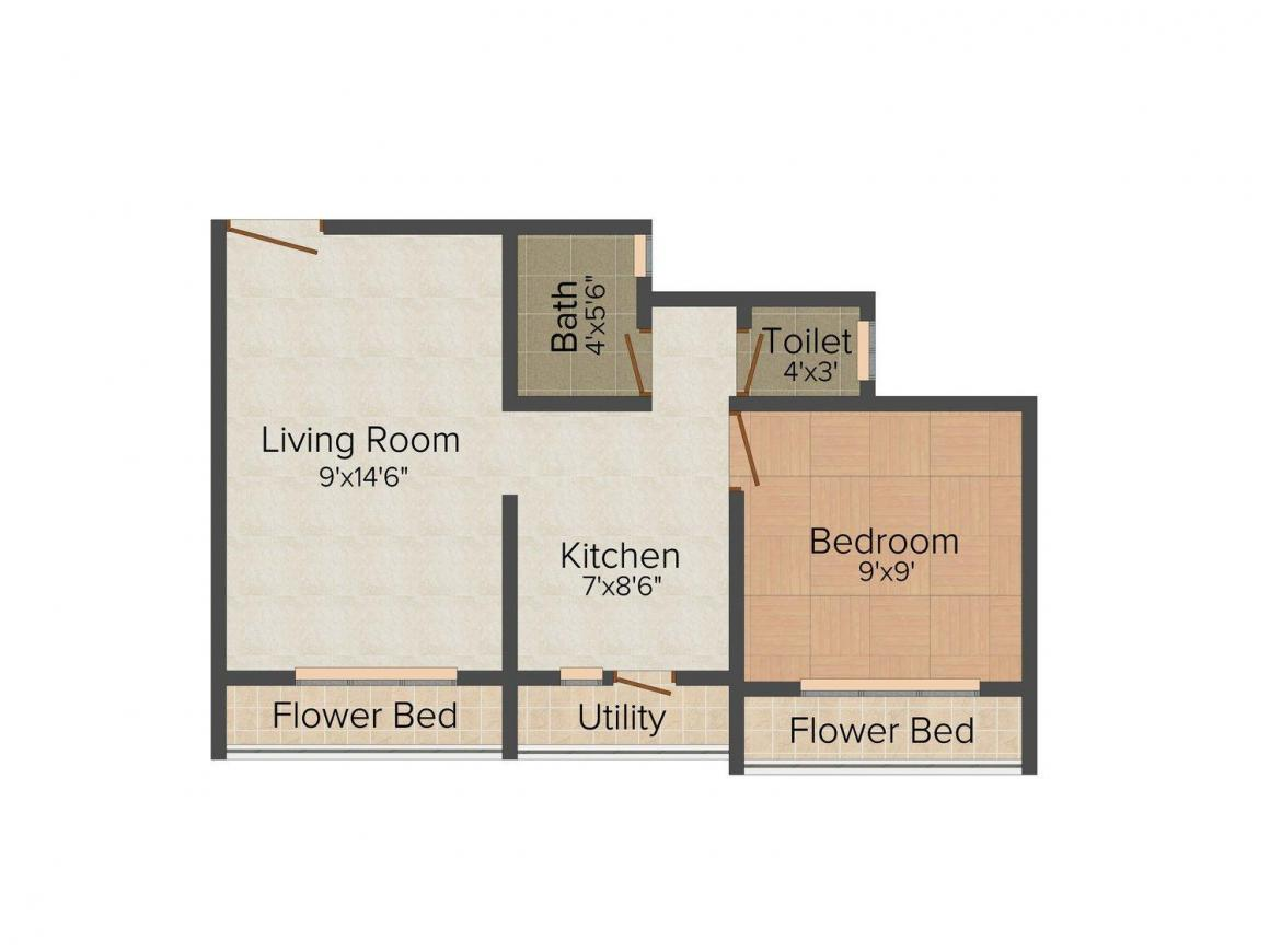 Pooja Plaza Floor Plan: 1 BHK Unit with Built up area of 490 sq.ft 1