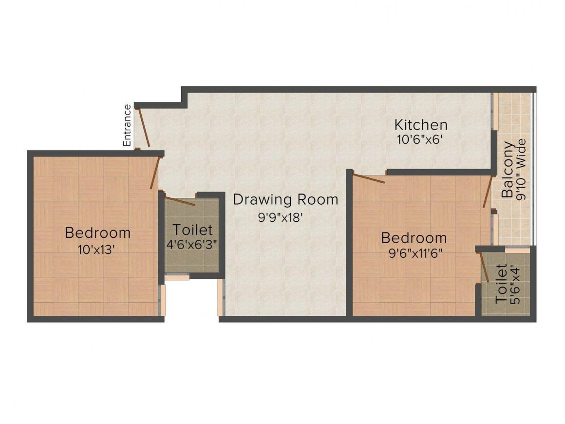 Floor Plan Image of 720 - 900 Sq.ft 2 BHK Independent Floor for buy in Countrywide CWIS Homes - II