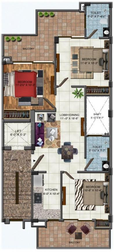 Amolik Residency Apartment Floor Plan: 3 BHK Unit with Built up area of 1172 sq.ft 1