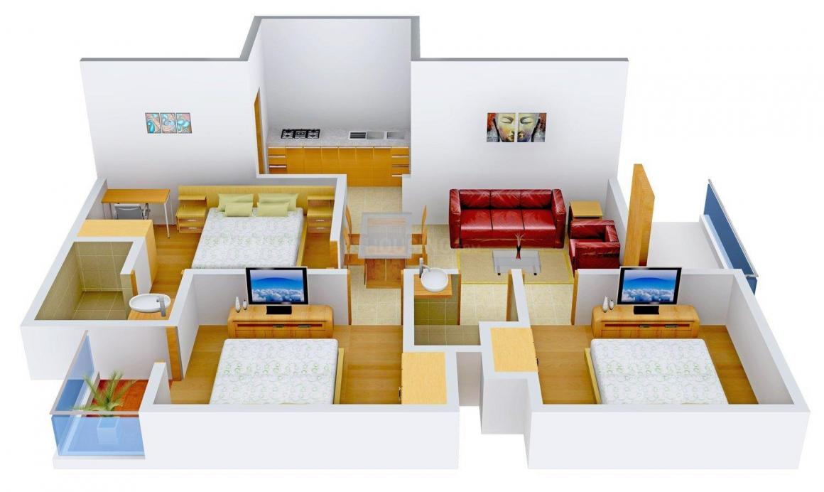 BHAJAN Home I Floor Plan: 3 BHK Unit with Built up area of 810 sq.ft 1