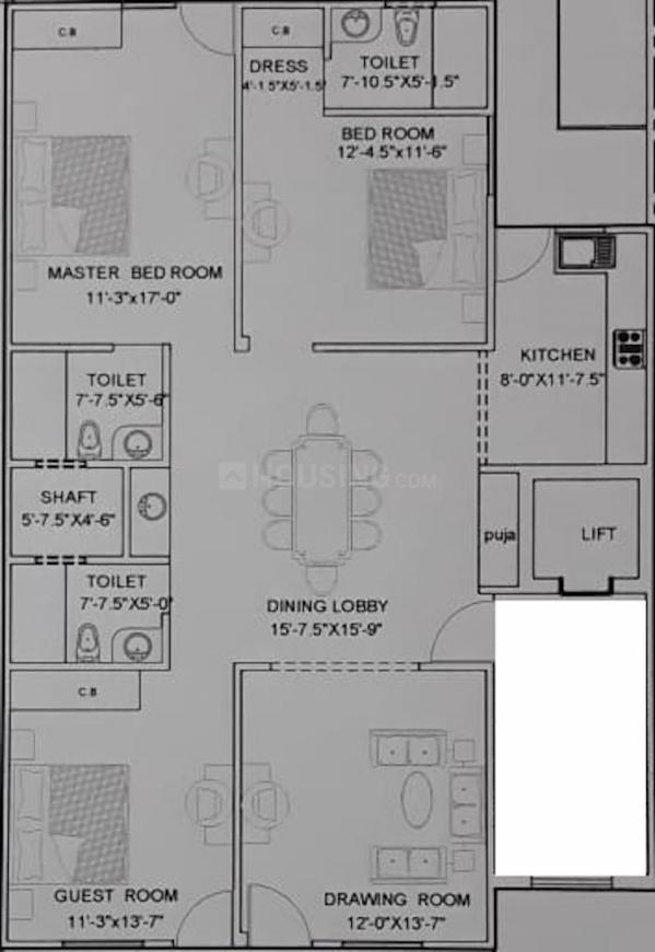 Aashirwad Homes Floor Plan: 3 BHK Unit with Built up area of 1326 sq.ft 1