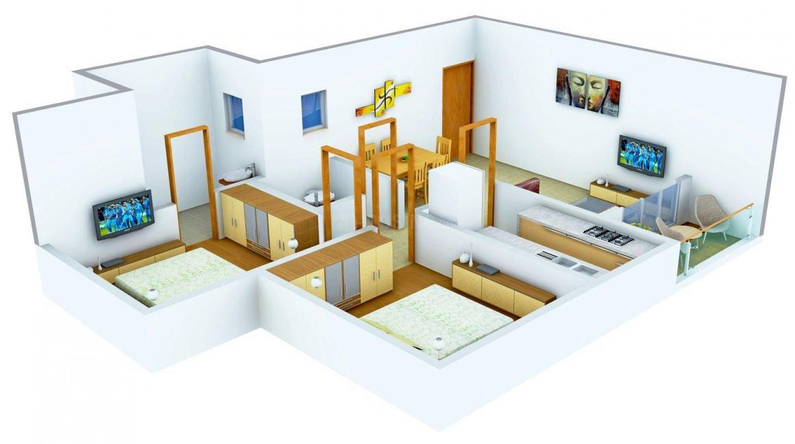 Mounthill The Rain Forest Floor Plan: 2 BHK Unit with Built up area of 939 sq.ft 1