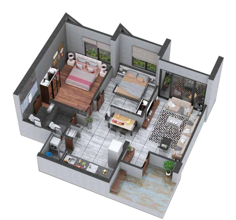 Madhuram Blossom Floor Plan: 2 BHK Unit with Built up area of 1260 sq.ft 1