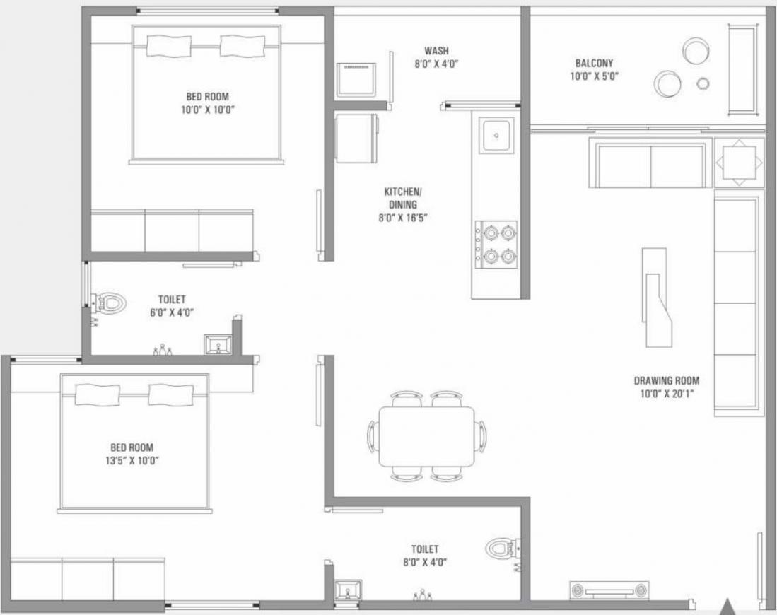 Shreenathji Sentosa Habitat Floor Plan: 2 BHK Unit with Built up area of 666 sq.ft 1