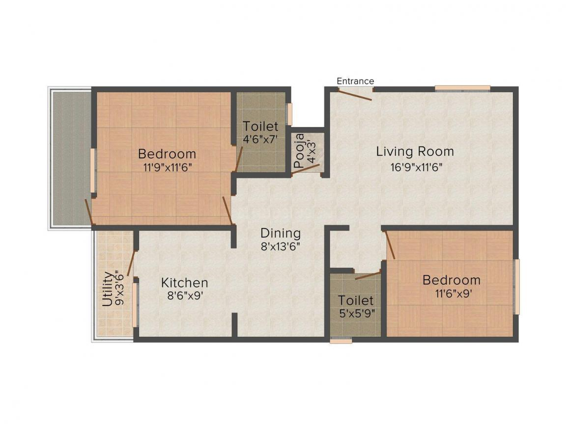 Floor Plan Image of 1100 - 1800 Sq.ft 2 BHK Apartment for buy in Wise Golden Rays