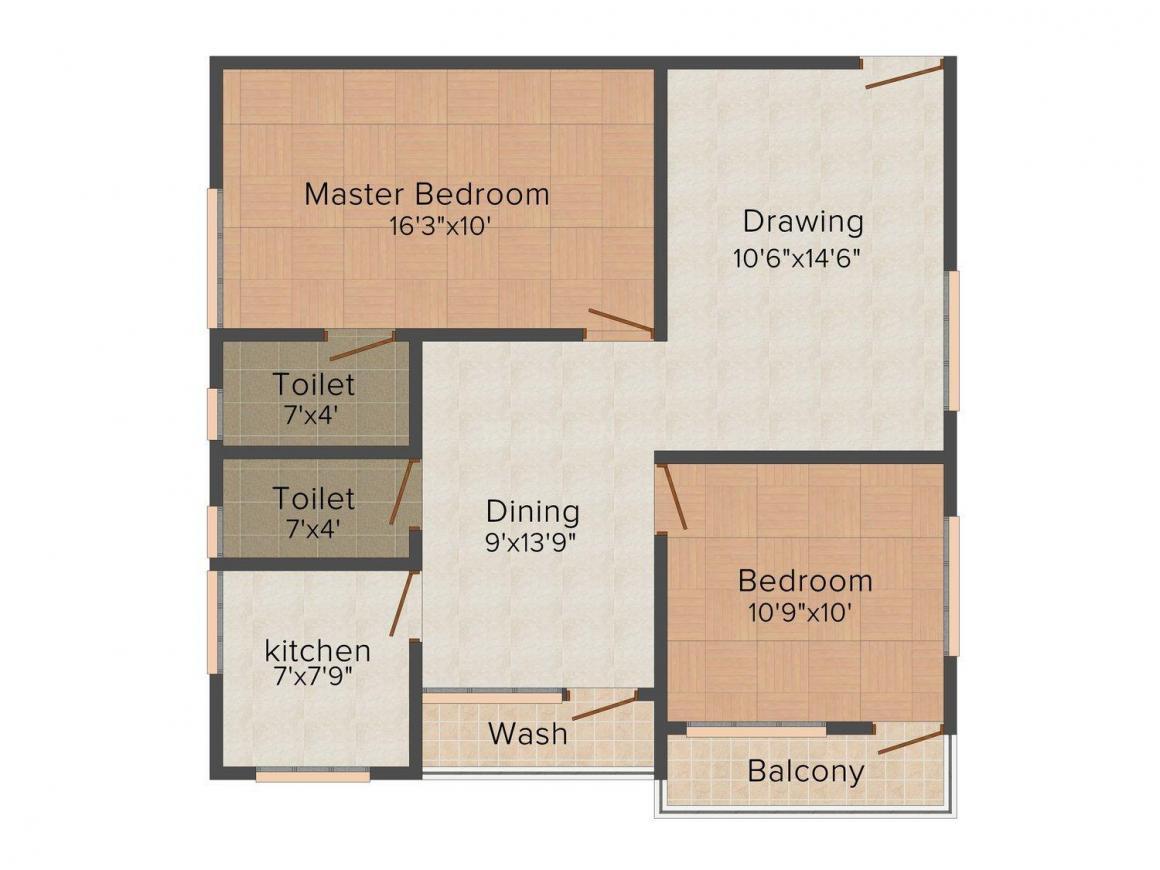 Floor Plan Image of 0 - 1000.0 Sq.ft 2 BHK Apartment for buy in Sri Venkateshwara Pearl Palace