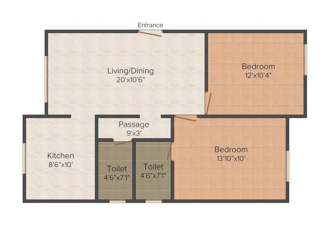 Floor Plan Image of 913.0 - 1317.0 Sq.ft 2 BHK Apartment for buy in Uttamam UFA