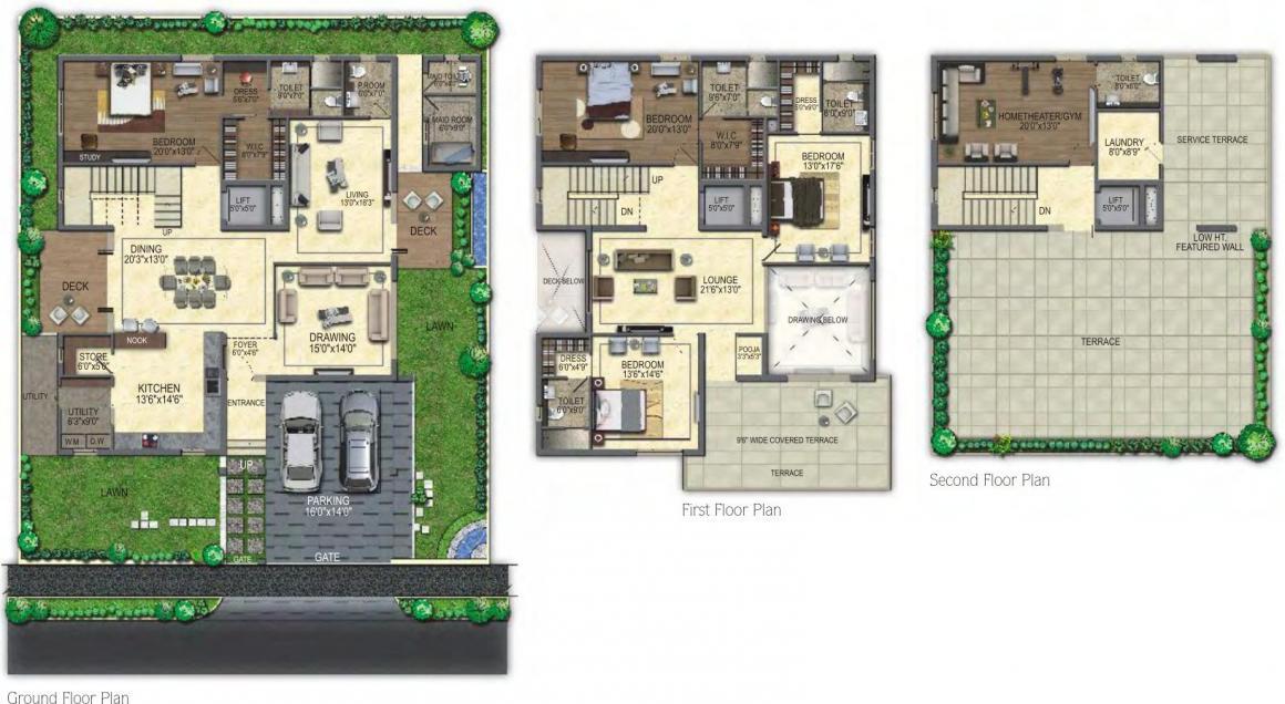 Sri Aditya Royal Palms Floor Plan: 4 BHK Unit with Built up area of 4900 sq.ft 1
