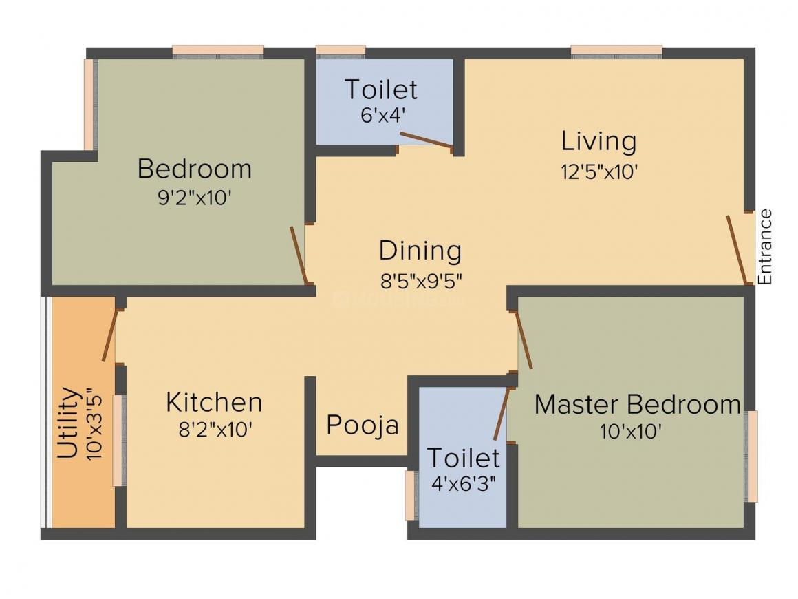 Rahul Subbalakshmi Floor Plan: 2 BHK Unit with Built up area of 795 sq.ft 1