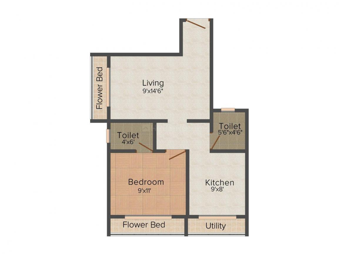 Level Up Constructions Level Up 2nd Avenue Floor Plan: 1 BHK Unit with Built up area of 665 sq.ft 2