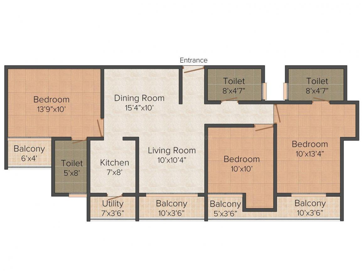 Floor Plan Image of 0 - 2160.0 Sq.ft 3 BHK Independent Floor for buy in Aadhar D - 14/20 Ardee City