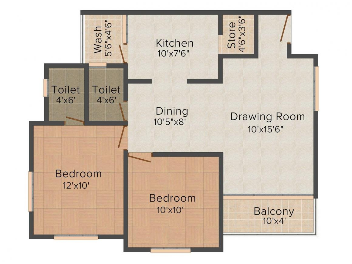 Green Iris Floor Plan: 2 BHK Unit with Built up area of 1038 sq.ft 1
