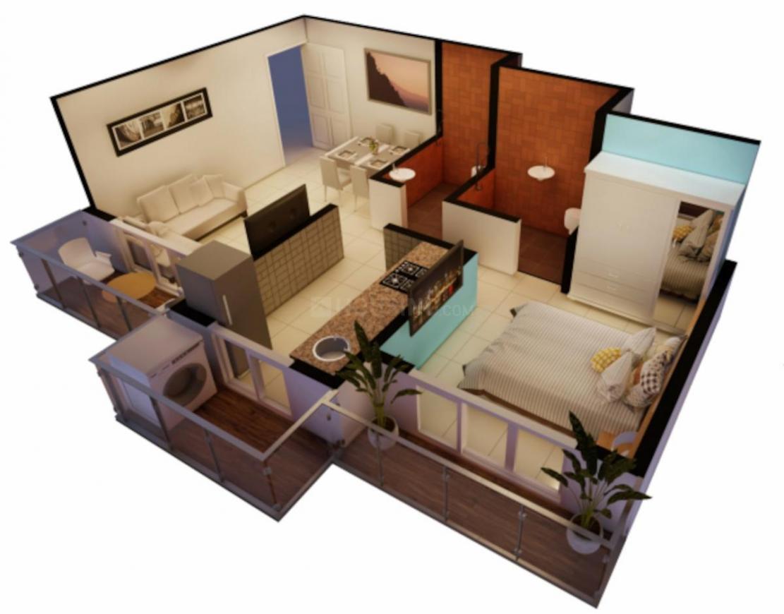Mahalaxmi Golden Paradise Floor Plan: 1 BHK Unit with Built up area of 390 sq.ft 1