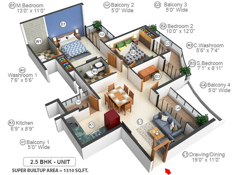 Hilston Floor Plan: 2 BHK Unit with Built up area of 1310 sq.ft 1