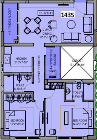 Revera Developers LLP One Prime Floor Plan: 2 BHK Unit with Built up area of 1435 sq.ft 1