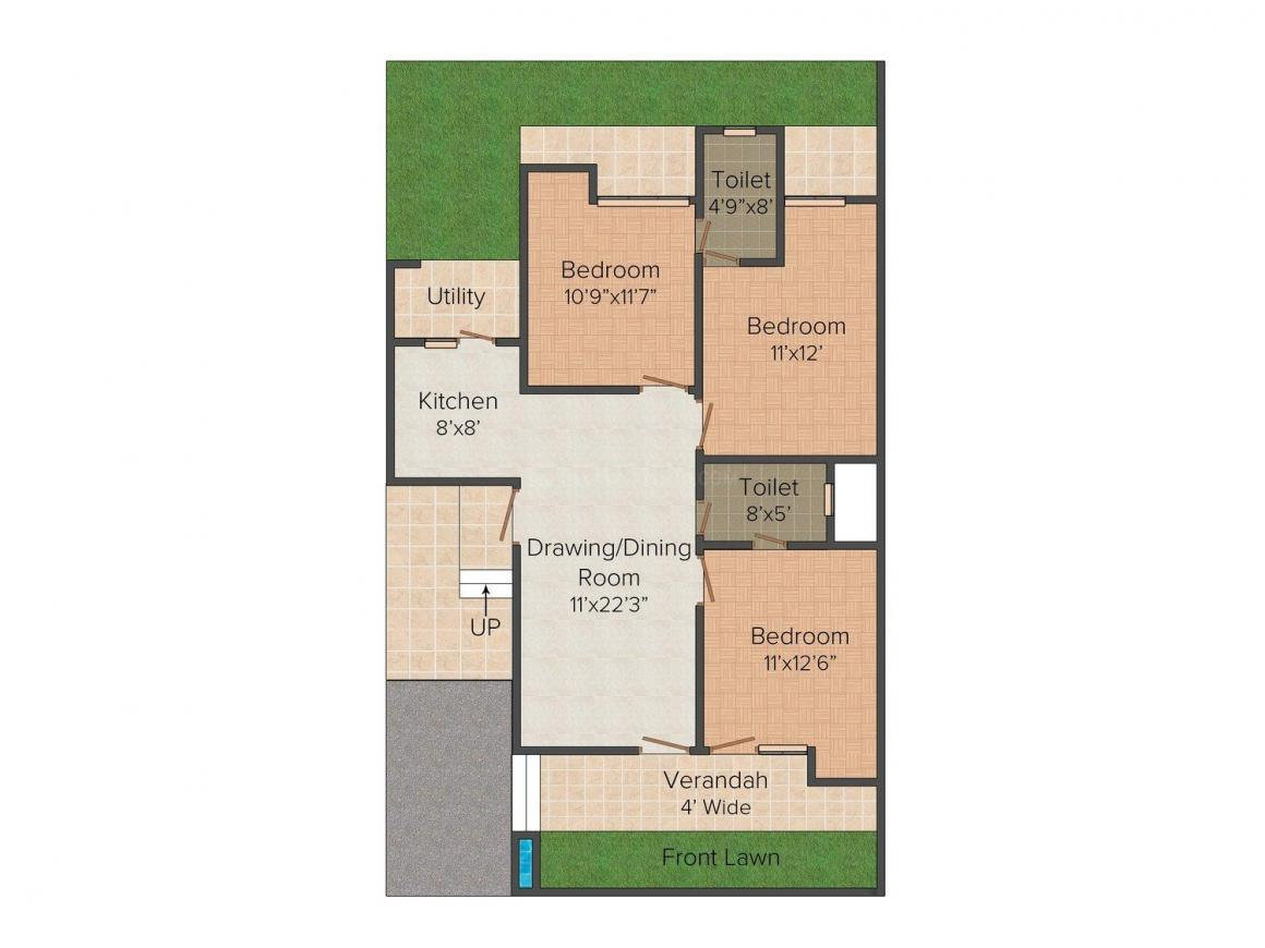 Sunrise Floors 1 Floor Plan: 3 BHK Unit with Built up area of 1420 sq.ft 1
