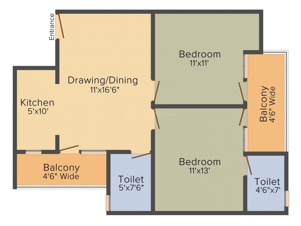 Floor Plan Image of 600.0 - 950.0 Sq.ft 1 BHK Apartment for buy in Indian Welfare Society