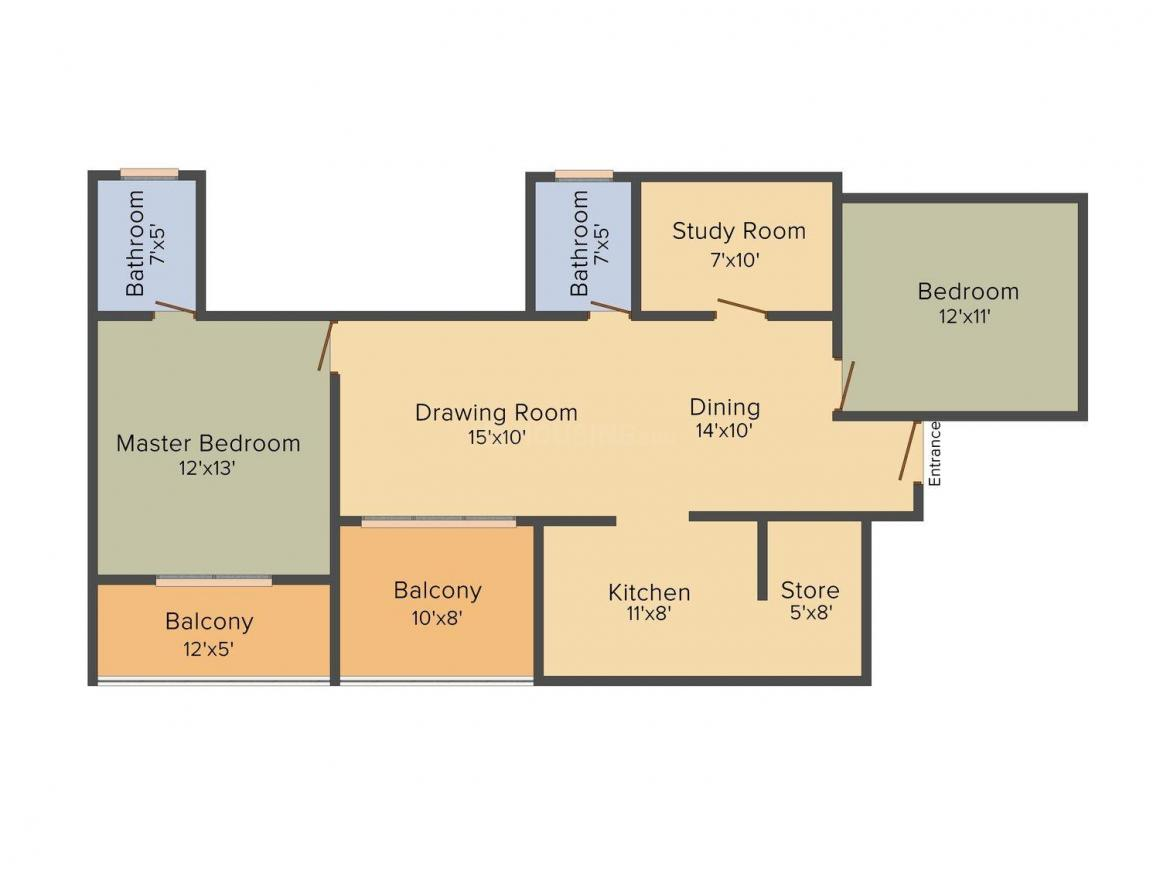 Floor Plan Image of 1260 - 1780 Sq.ft 2 BHK Apartment for buy in Rudra Welfare Society
