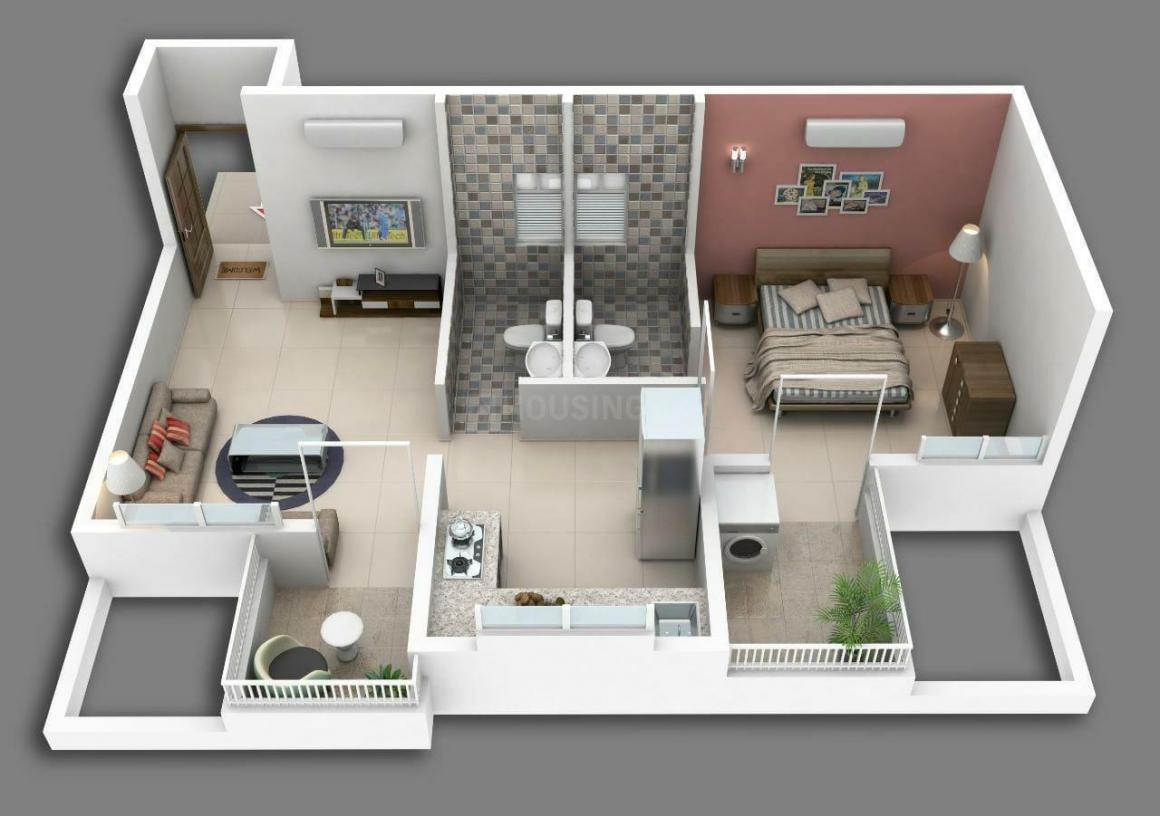 Shivom Floor Plan: 1 BHK Unit with Built up area of 380 sq.ft 1