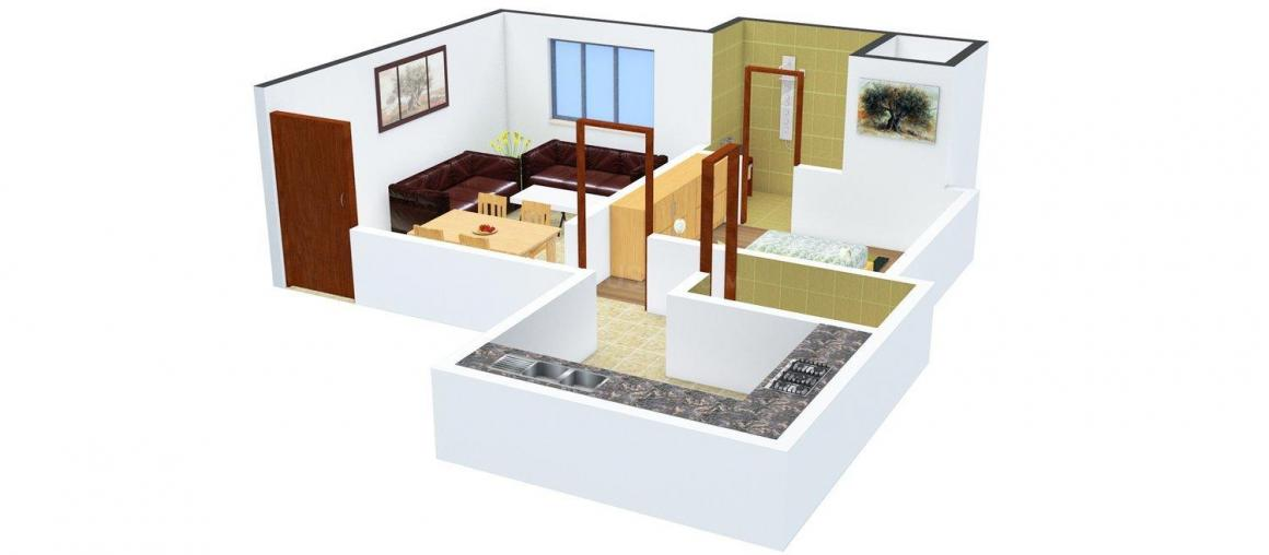 Floor Plan Image of 452 - 1432 Sq.ft 1 BHK Apartment for buy in Viva Haritara Residency