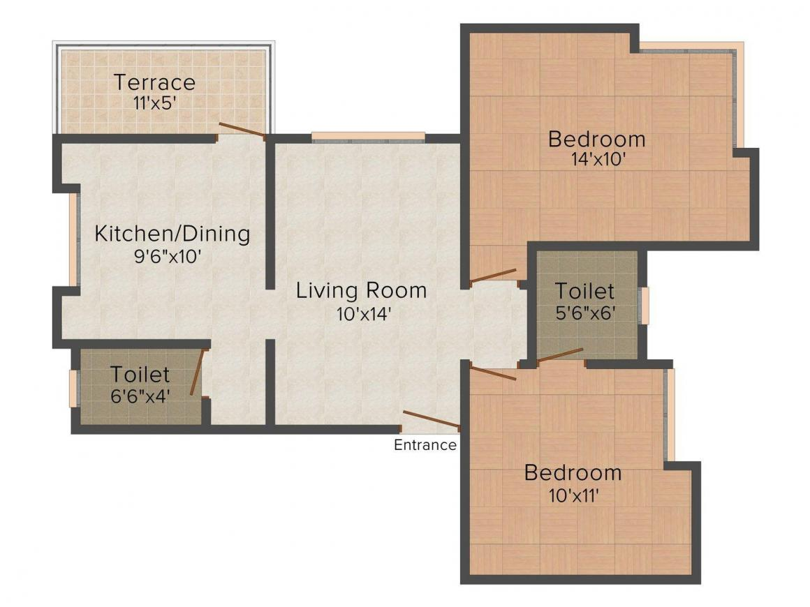 Floor Plan Image of 611.0 - 870.0 Sq.ft 2 BHK Apartment for buy in One Blessed Homes