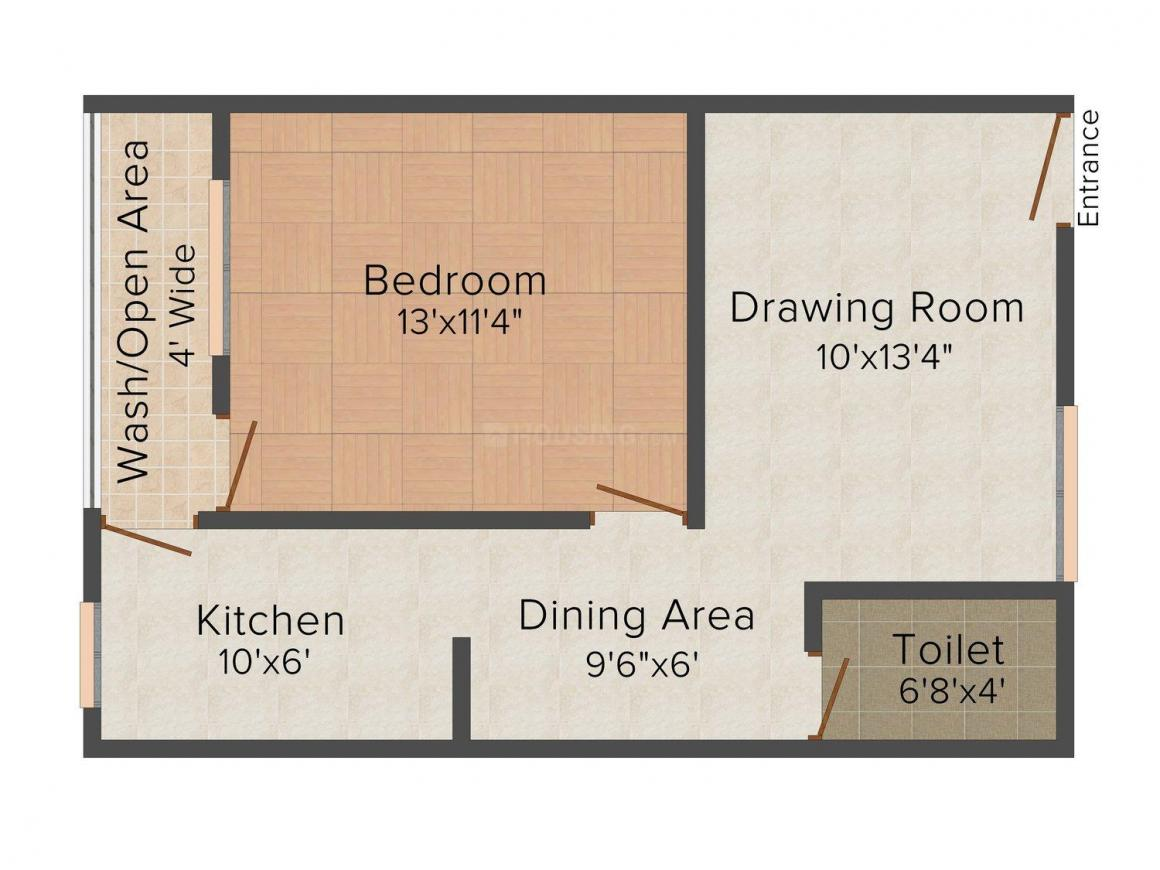 Siddharth Apartment Floor Plan: 1 BHK Unit with Built up area of 470 sq.ft 1