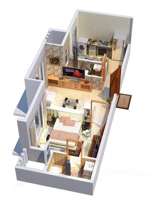 Samar Heights Floor Plan: 1 BHK Unit with Built up area of 393 sq.ft 1