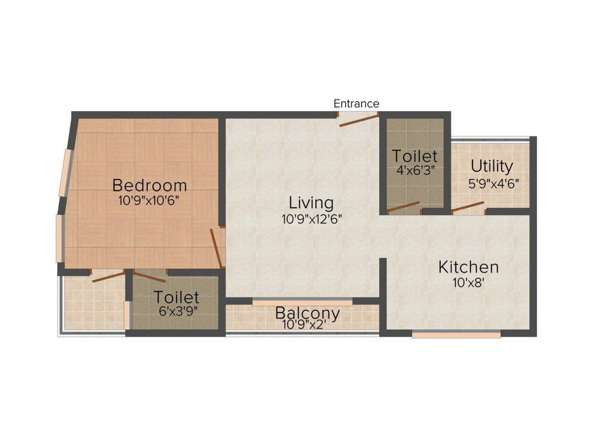 Floor Plan Image of 0 - 730 Sq.ft 1 BHK Apartment for buy in Hitech Krishnaraj Avenue