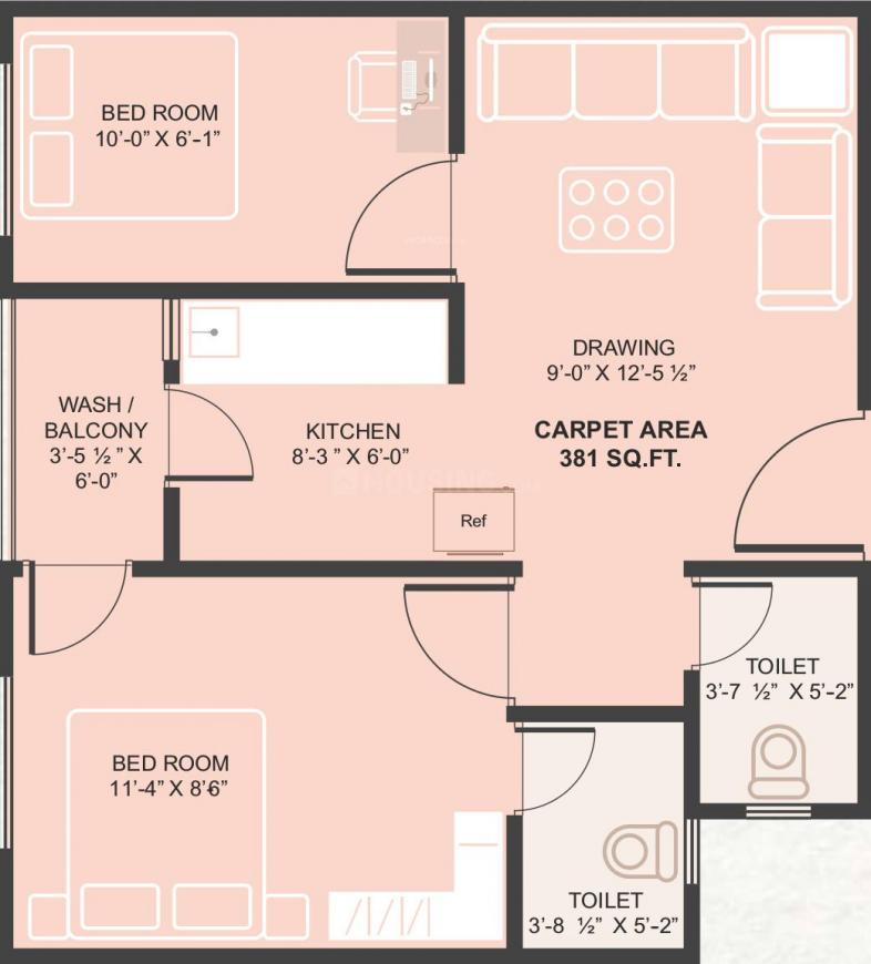 Om Shanti Gold Plus Floor Plan: 2 BHK Unit with Built up area of 381 sq.ft 1