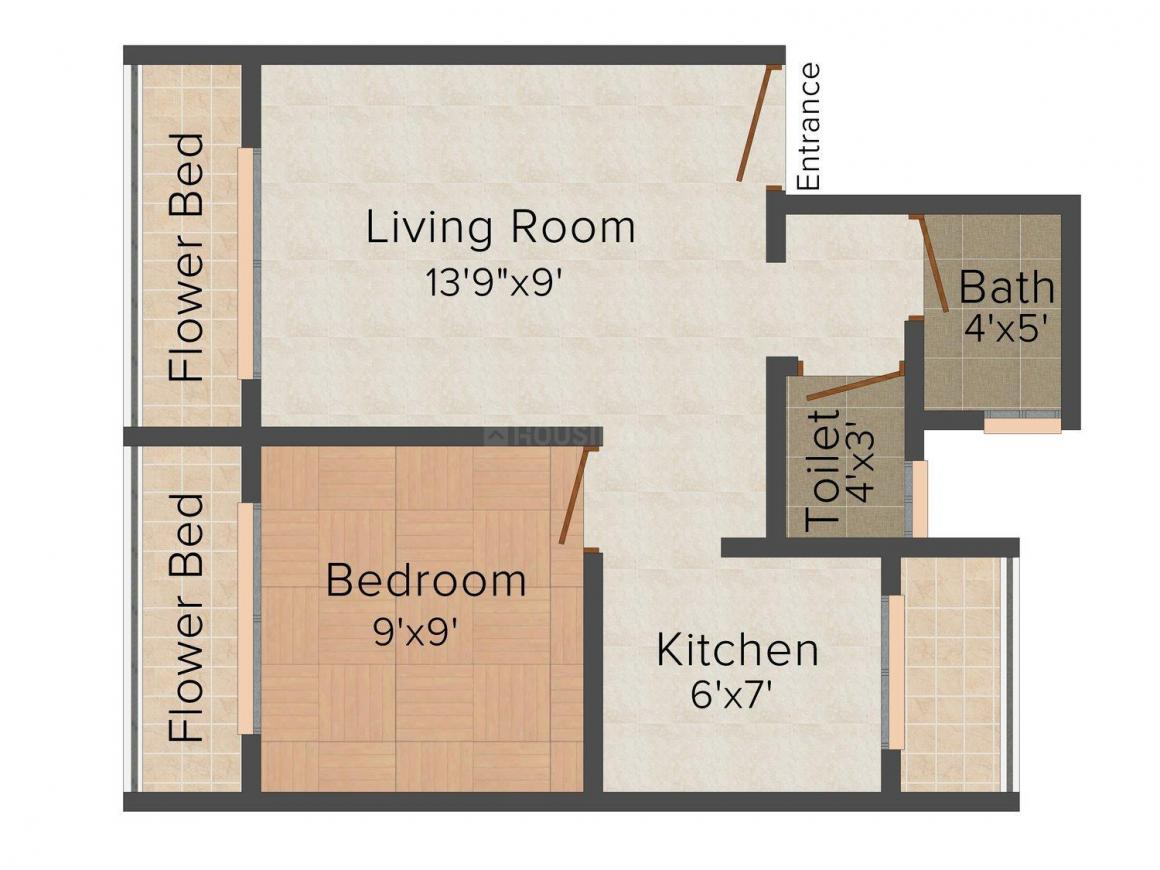 Floor Plan Image of 0 - 610.0 Sq.ft 1 BHK Apartment for buy in Dharti Dham