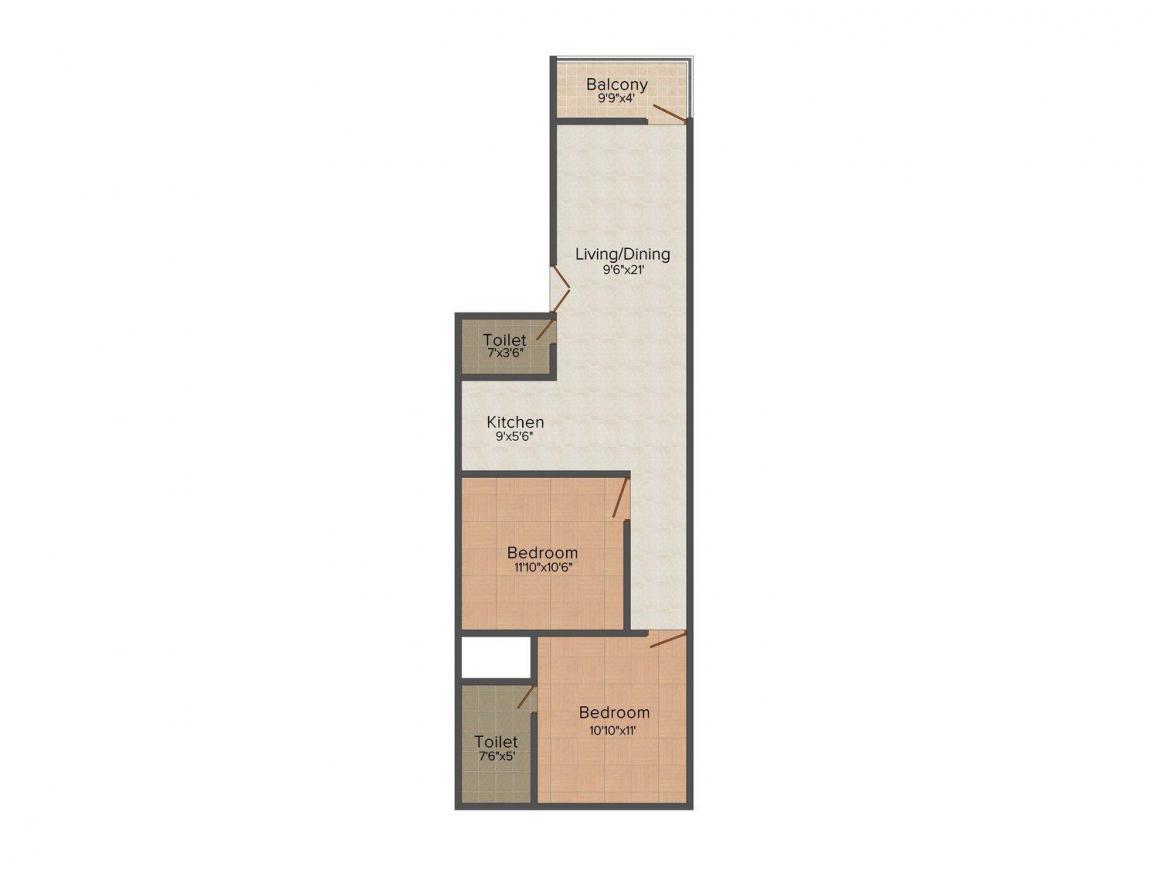 Floor Plan Image of 0 - 765 Sq.ft 2 BHK Independent Floor for buy in Happy Homes Floor  - 1