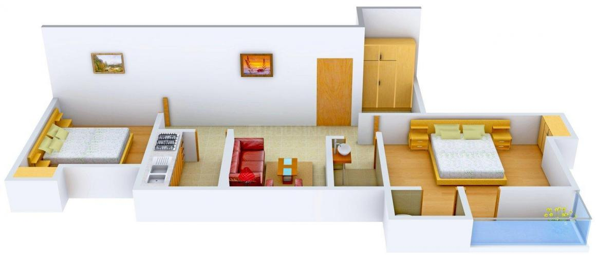 KLM Ashirbad Enclave 2 Floor Plan: 2 BHK Unit with Built up area of 938 sq.ft 1