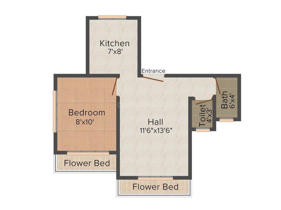 Floor Plan Image of 420.0 - 650.0 Sq.ft 1 RK Apartment for buy in Madhav Vatika