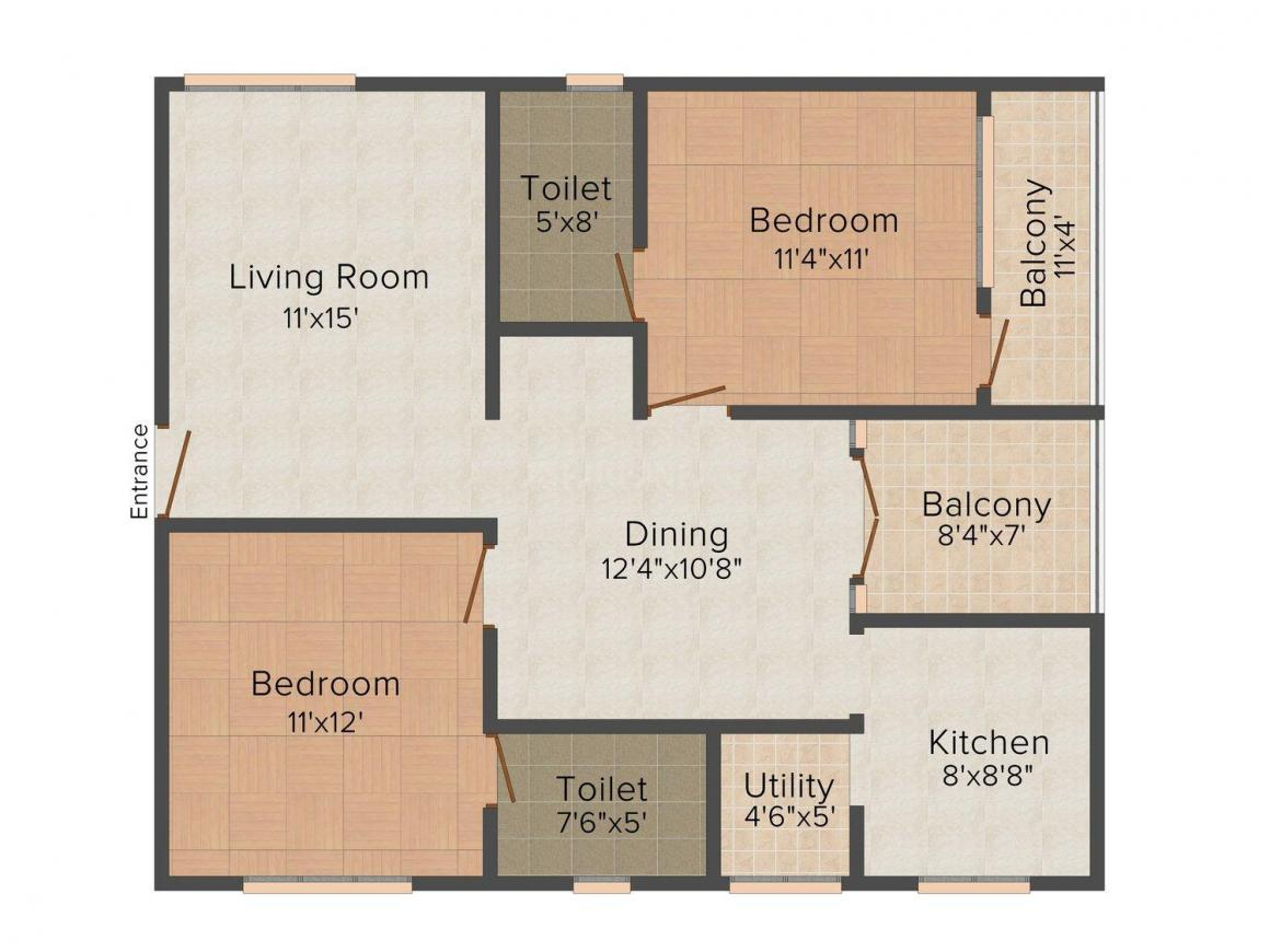 Floor Plan Image of 0 - 1320 Sq.ft 2 BHK Apartment for buy in Man Royal View Apartment