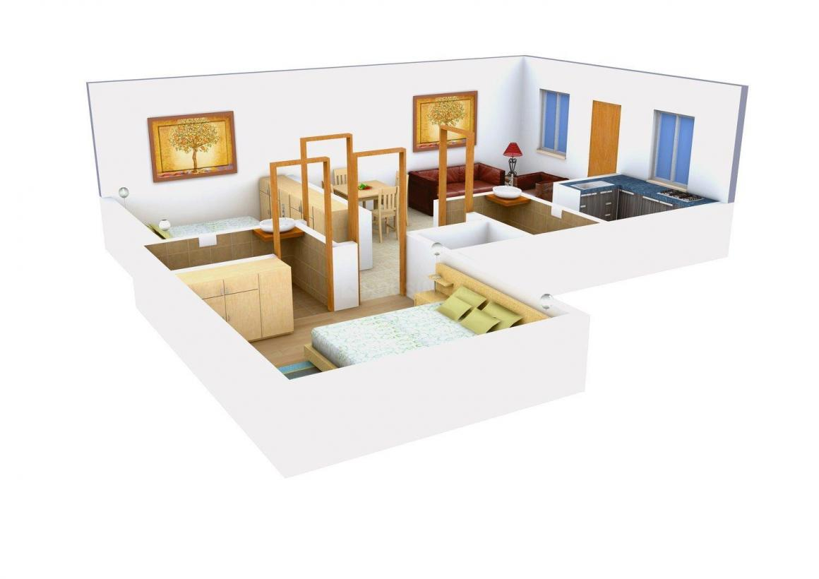 Svastika Rose Floor Plan: 2 BHK Unit with Built up area of 587 sq.ft 1