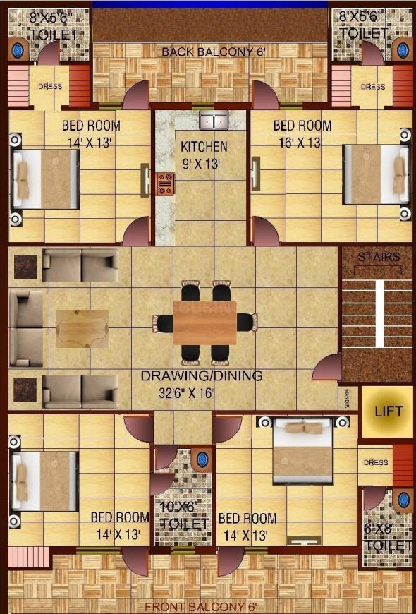 Richlook Platinum Floors Floor Plan: 4 BHK Unit with Built up area of 2700 sq.ft 1