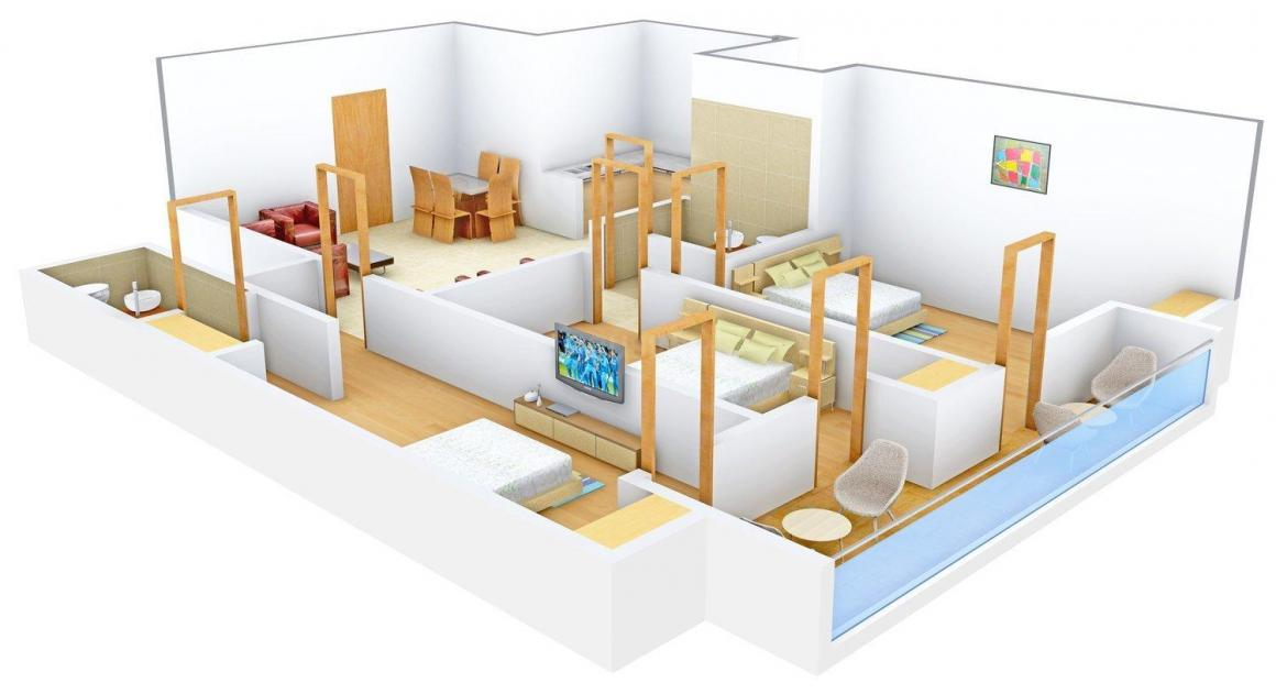 Floor Plan Image of 1510.0 - 1950.0 Sq.ft 3 BHK Apartment for buy in  Gold