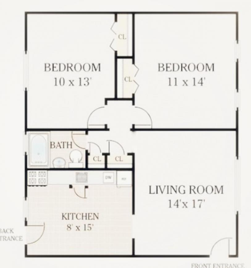 Baheti Uttarayan Floor Plan: 2 BHK Unit with Built up area of 800 sq.ft 1