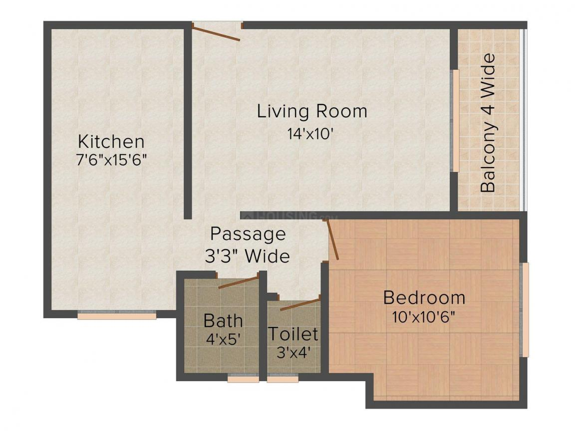 Floor Plan Image of 630.0 - 985.0 Sq.ft 1 BHK Apartment for buy in Asha Paradise