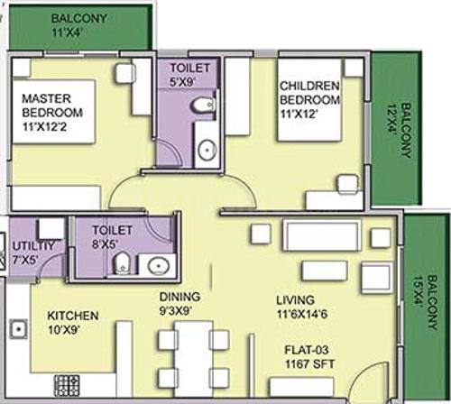 Pristine Woods Floor Plan: 2 BHK Unit with Built up area of 1048 sq.ft 1