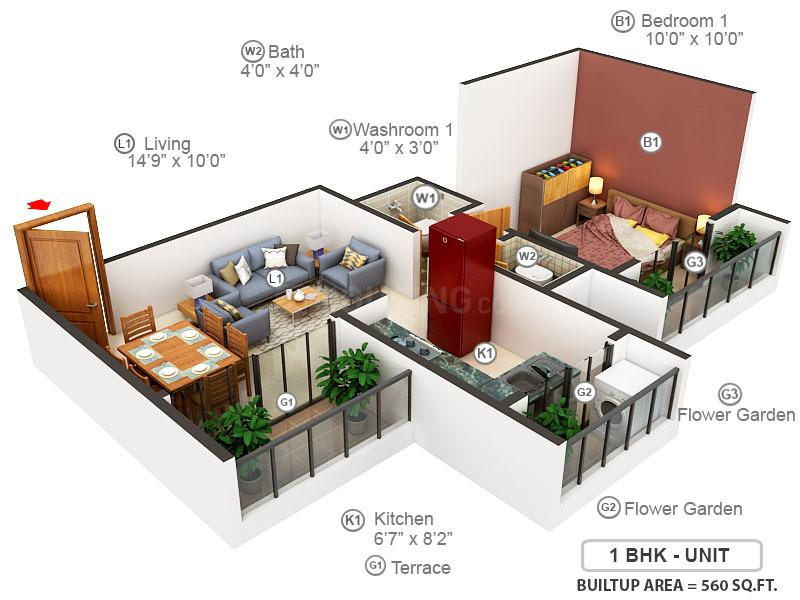 Navkar Estate City Phase 1 And 2 Floor Plan: 1 BHK Unit with Built up area of 560 sq.ft 1