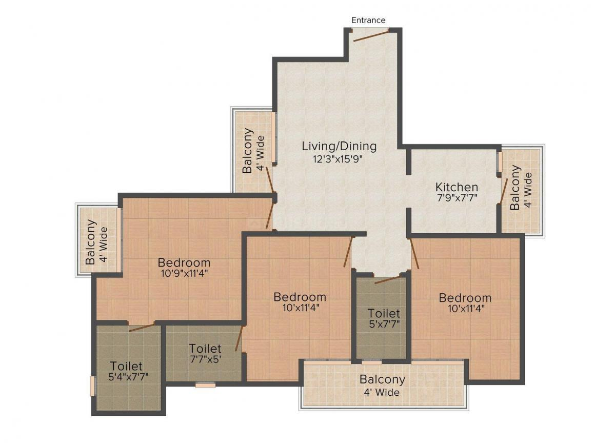 Floor Plan Image of 0 - 1890 Sq.ft 3 BHK Independent Floor for buy in Chowdhary Floors 6