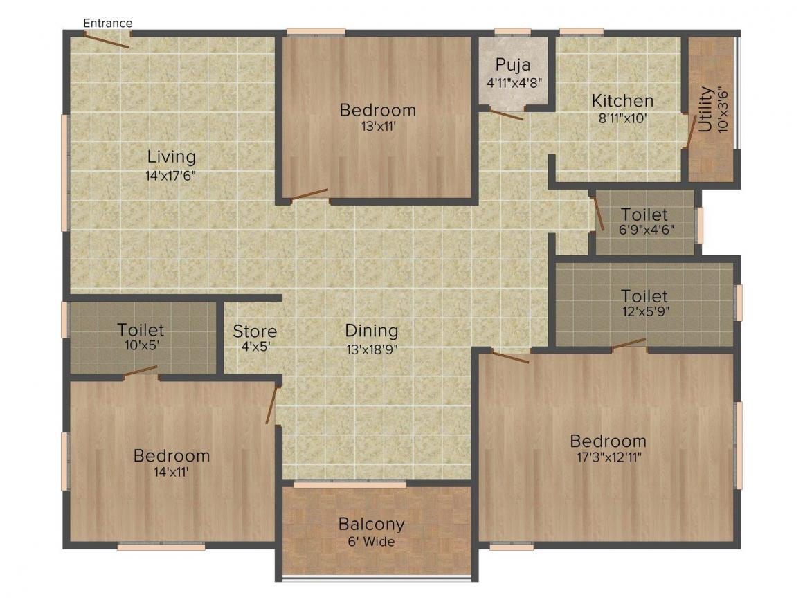 Floor Plan Image of 0 - 2100.0 Sq.ft 3 BHK Apartment for buy in Anuhar 99 PARC