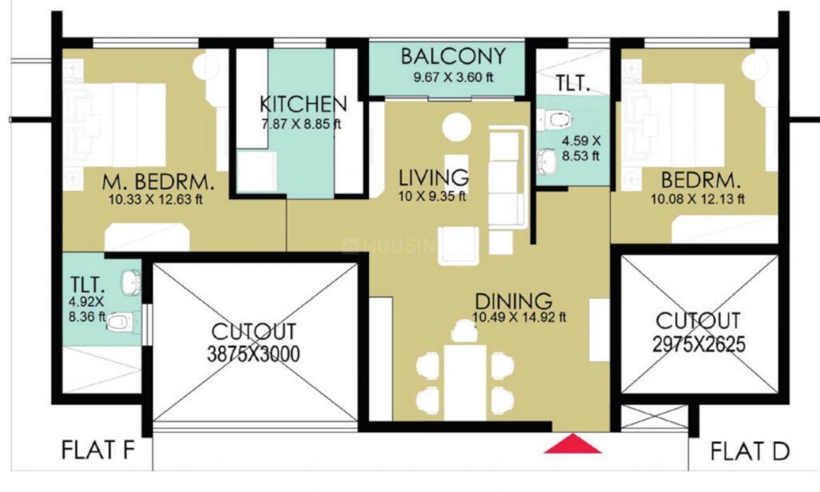 Bengal Tarang Floor Plan: 2 BHK Unit with Built up area of 1047 sq.ft 1