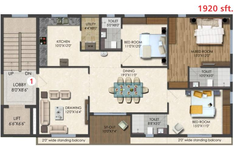 Dukes Galaxy Floor Plan: 3 BHK Unit with Built up area of 1920 sq.ft 1