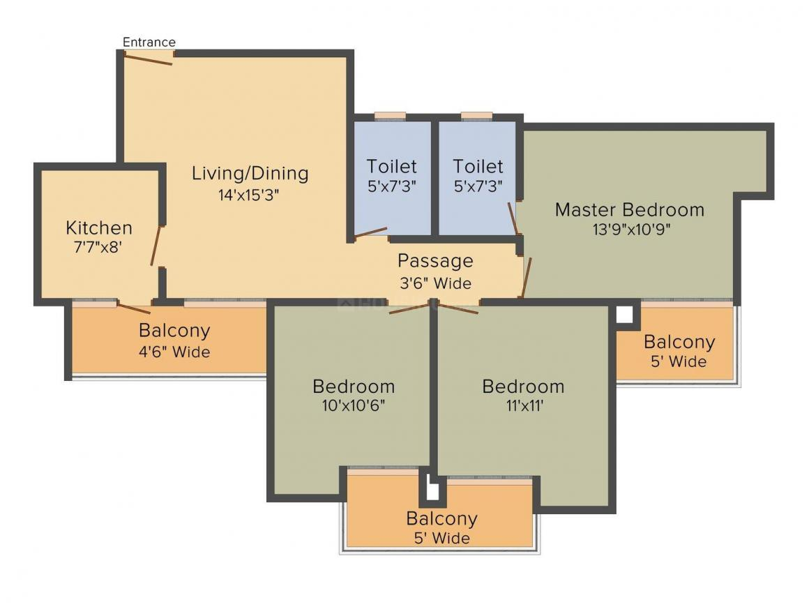 Floor Plan Image of 1100 - 1575 Sq.ft 2 BHK Apartment for buy in Lotus Greens