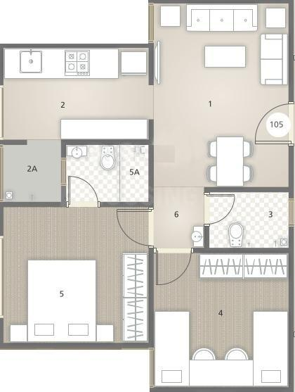 Rajyash Sandstone Floor Plan: 2 BHK Unit with Built up area of 550 sq.ft 1