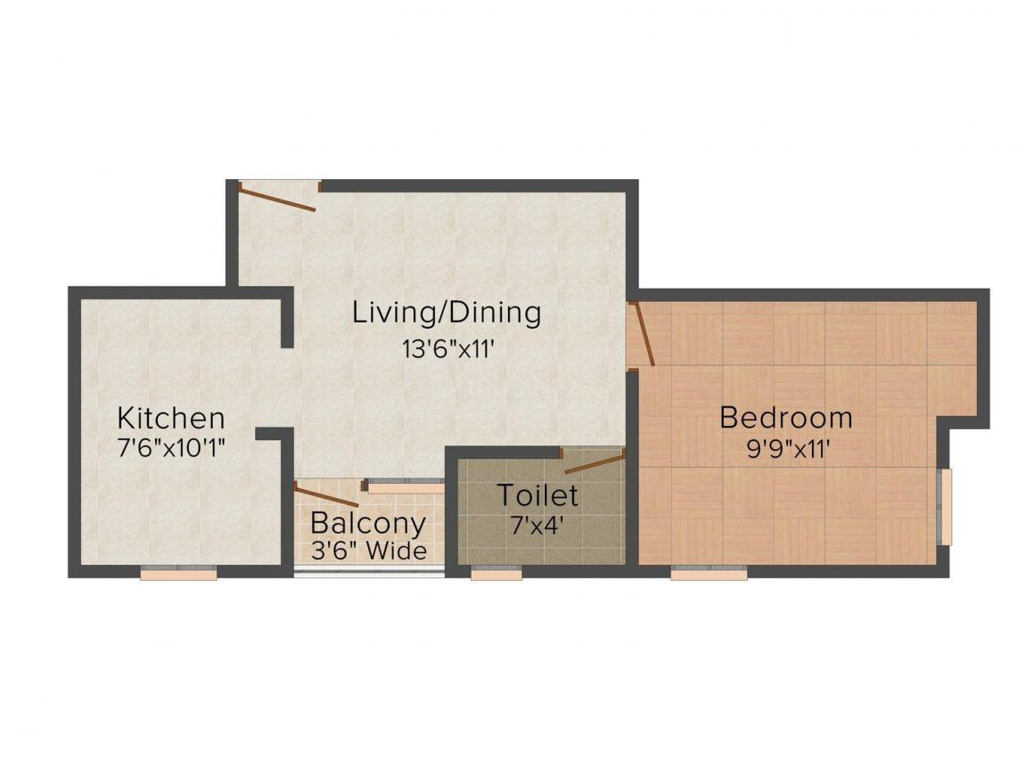A. N. Ram Nagar Floor Plan: 1 BHK Unit with Built up area of 545 sq.ft 1