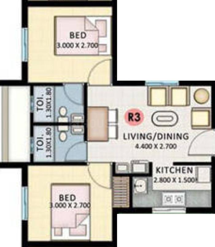 KLP Abhinandan Floor Plan: 2 BHK Unit with Built up area of 593 sq.ft 2