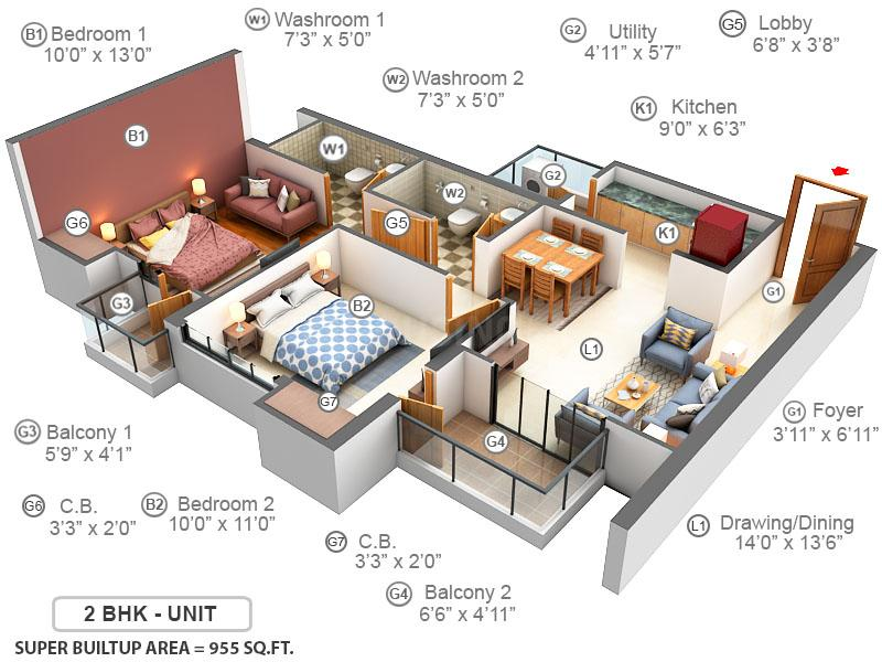 Ace Divino Floor Plan: 2 BHK Unit with Built up area of 995 sq.ft 1